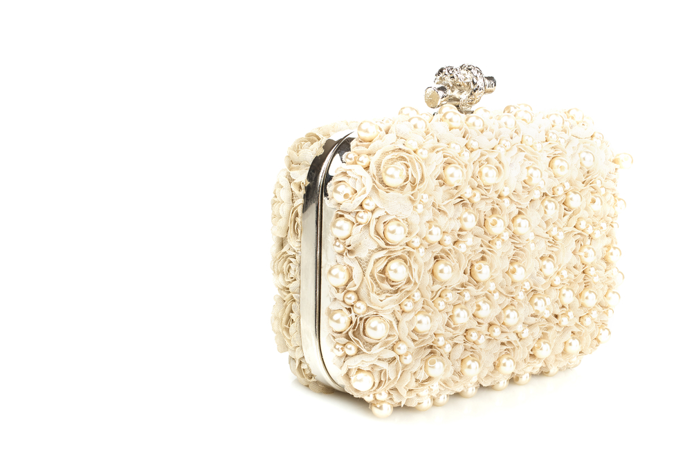 Clutch off white with flowers