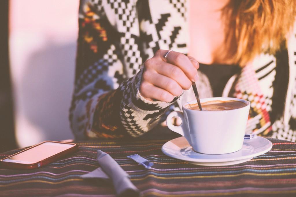 Stirring in coffee