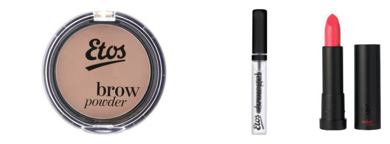 Etos brow powder, Etos brow gel and Etos lipstick