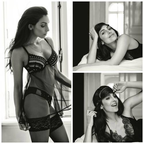 Anna Nooshin Black lingerie and eyemask in black and white