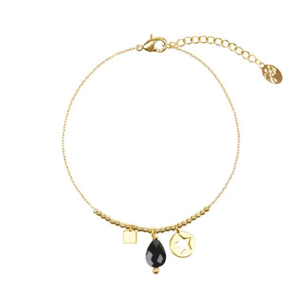 Armband Zwarte steen & bedels goud image