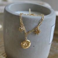 Armband kompas met schakeltjes en sterren goud onbewerkt
