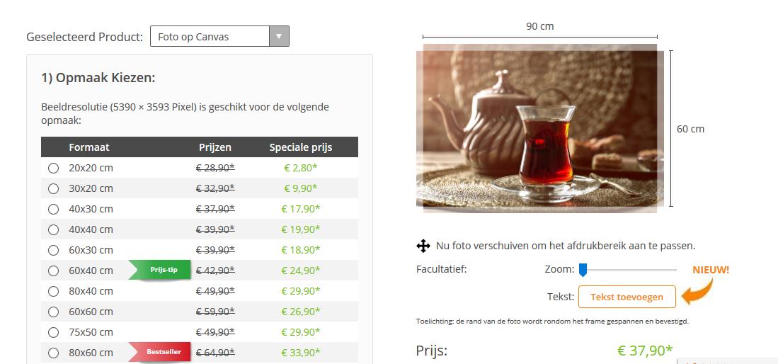 Bestelpagina BesteCanvas.nl