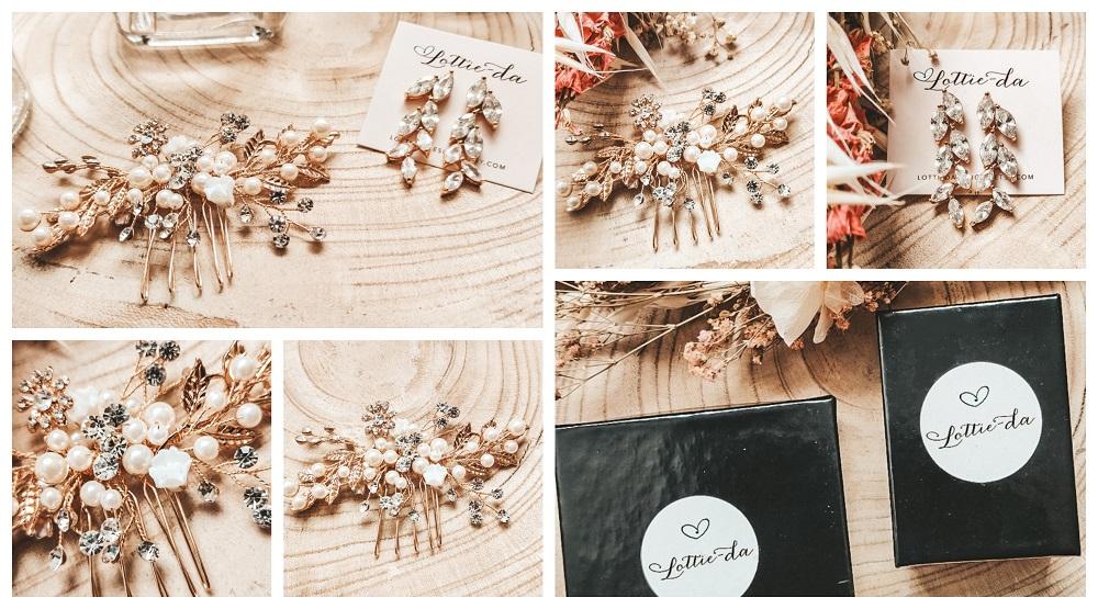 Collage Lottie-Da Haircomb Haarkam 'Sadie' en oorbellen 'Avita'
