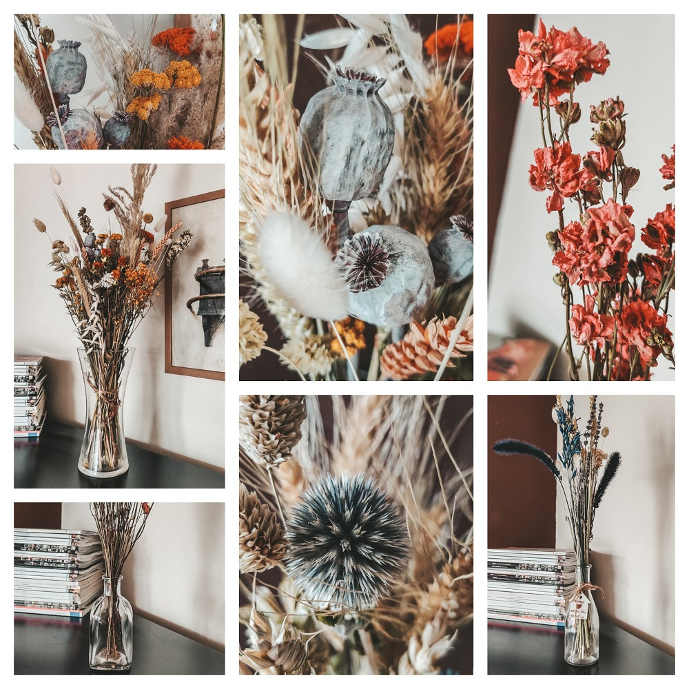 Collage droogbloemen