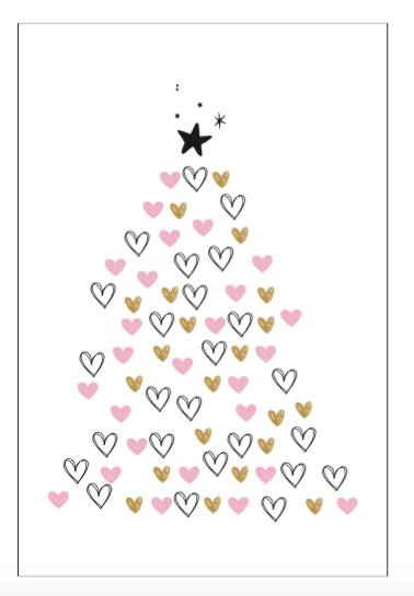 Kerstkaart - Kerstboom hartjes image