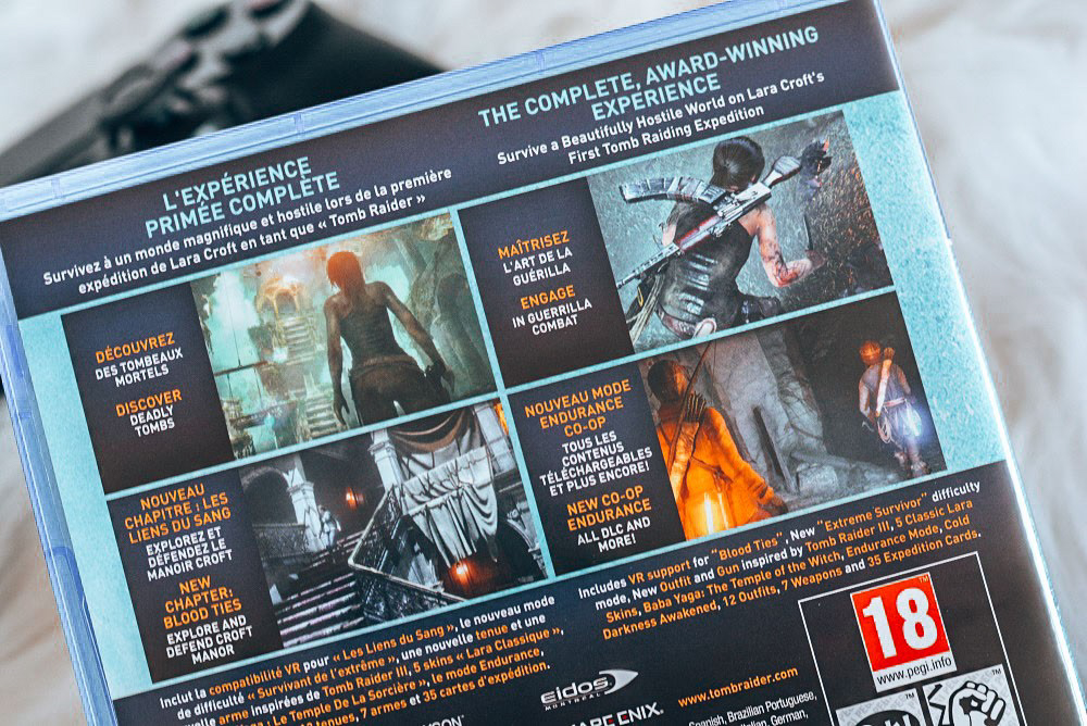 Lara Croft - Rise of the Tombraider box closeup back