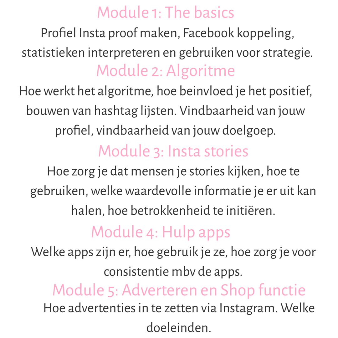 Modules Instagram cursus