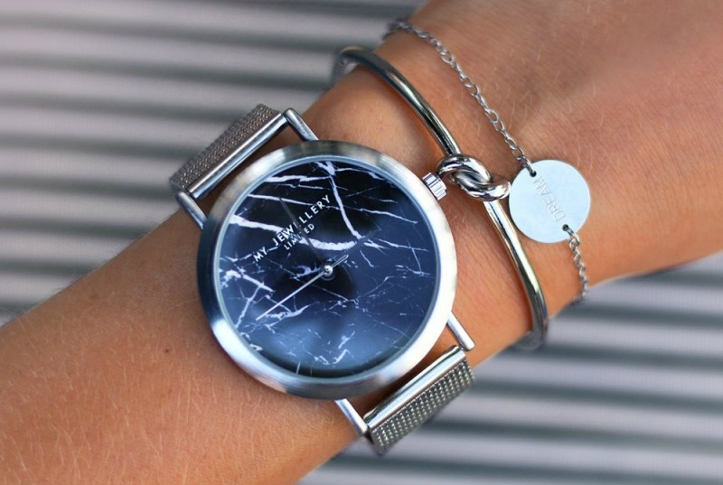 My Jewellery Limited Watch - Silver Black Marble (Marble Watches)