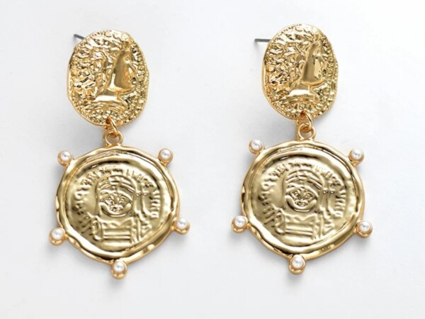 Oorbellen goud met munten en pareltjes foto winkel