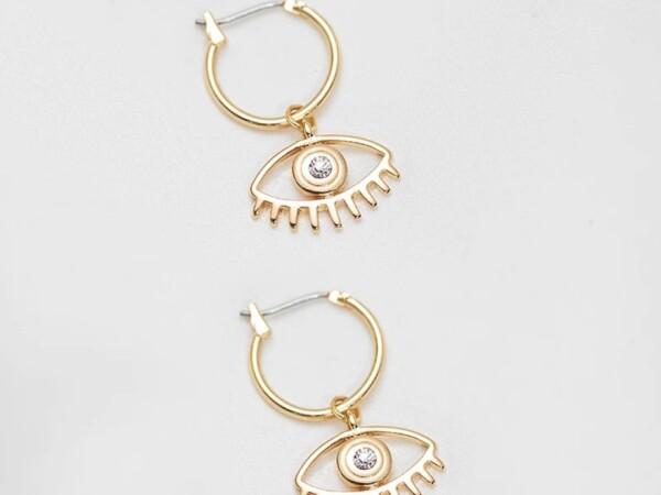 Oorbellen goud met oog en steentje foto winkel