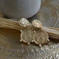 Oorbellen met munten en pareltjes onbewerkt