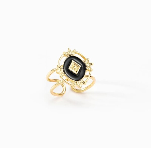 Ring goud en zwart met gouden ruit foto winkel
